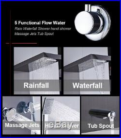 Thermostatic Stainless Steel Wall Mount Shower Tower Panel Hand Shower Tub Tap