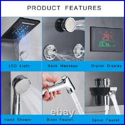 Wall Mount Black Shower Panel Shower Column LED Waterfall Shower Faucet Set