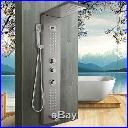Wall Mount Nickel Shower Panel Column Massage Jets Hand Shower Mixer Faucet Taps