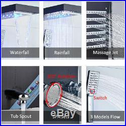 Wall Mount Shower Panel Tower Rain & Waterfall Head Massage Jets System Tub Tap