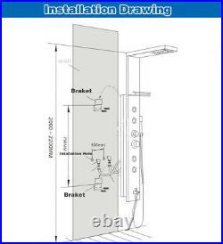 Wall Mounted LED Shower Panel Tower Rain Waterfall Massage Body System Mixer Tap