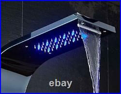 Wall Waterfall Stainless Steel Shower Panel Tower System 6-Function LED Shower