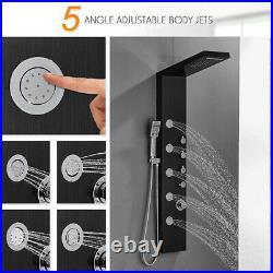 Waterfall Rain Black Shower Panel Column Tower Body Jet Stainless Steel Bathroom