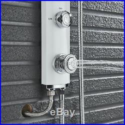 White Rainfall Shower Panel Column Spa Massage System WithHand Shower